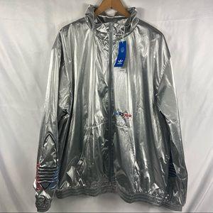 Adidas Originals Men's XL Silver Metallic Adicolor Zip Track Jacket GN4208 New
